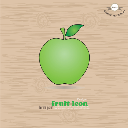 green apple: green apple icon isolated on wood texture background. Vector illustration