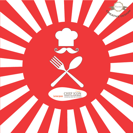 fine cuisine: chef icon.Chef icon with spoon and fork on sunburst background.Chef symbol.vector illustration.