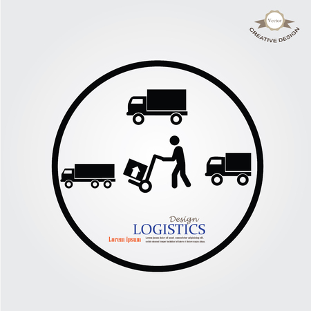 milkman: delivery services symbol on gray background.man icon with trolley and truck.vector illustration. Illustration