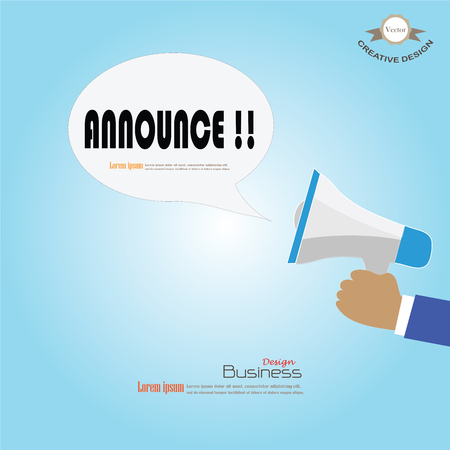 announce: Hand holding megaphone with  announce word.announcement background.vector illustration.