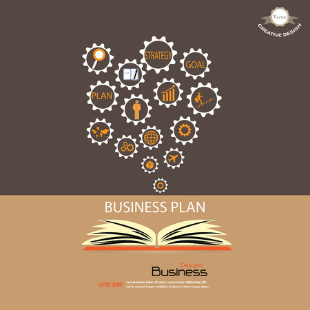 idealistic: Opened book with business concept icons.business icon.vector illustration.
