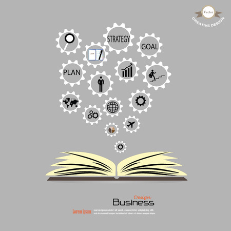opened book: Opened book with business concept icons.business icon.vector illustration.
