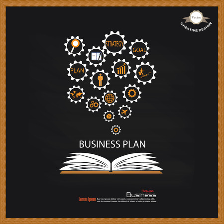 opened book: Opened book with business concept icons on chalkboard.business icon.vector illustration. Illustration