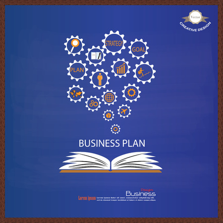 idealistic: Opened book with business concept icons on chalkboard.business icon.vector illustration. Illustration