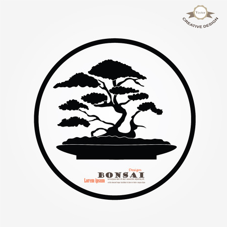 Bonsai.bonsai with potted on gray background.vector illustration.