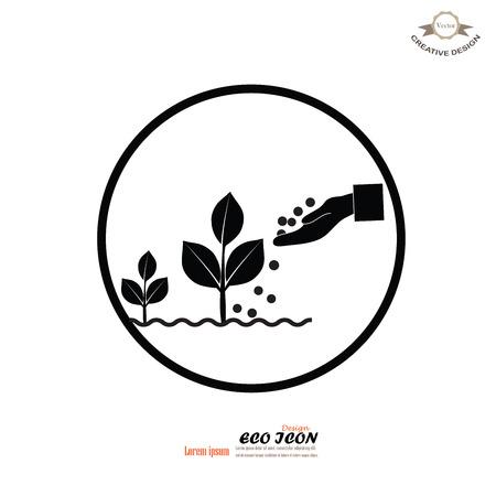 fertilizing: hand giving fertilizer to plant.fertilizer plant.eco concept.vector illustration.