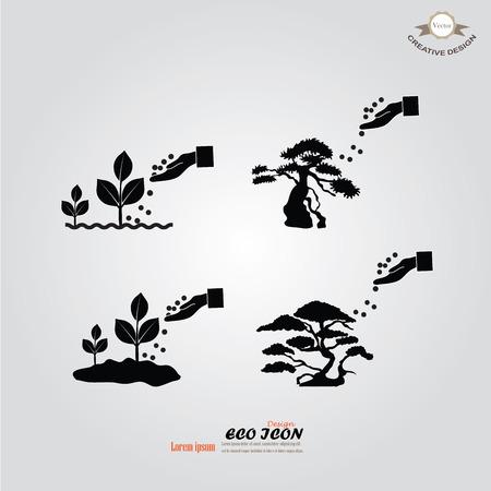 humus: hand giving fertilizer to plant.fertilizer plant.eco concept.vector illustration.
