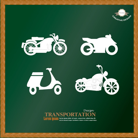 motorcycle: Motorcycle symbol ,motorcycle icon on chalkboard.motorcycle.vector illustration.