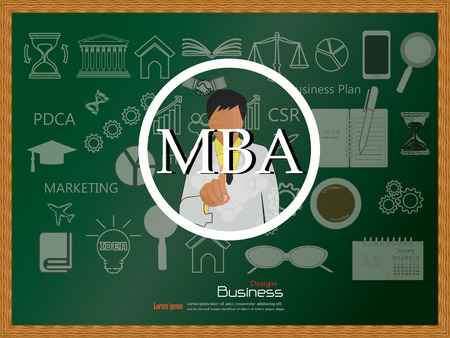 mba: MBA concept.business man point to MBA vector.business man vector .business concept.vector illustration.