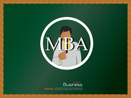 MBA concept.business man point to MBA vector.business man vector .business concept.vector illustration.