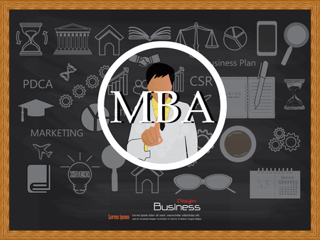 academic touch: MBA concept.business man point to MBA vector.business man vector .business concept.vector illustration.