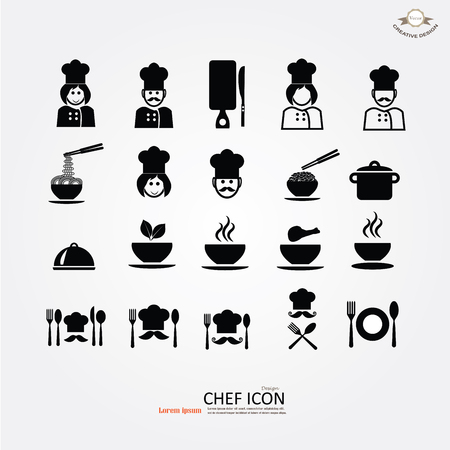 chef icon.Chef icon with kitchenware.Chef symbol.vector illustration. Illustration