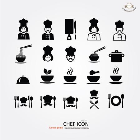 chef icon.Chef icon with kitchenware.Chef symbol.vector illustration. Illustration