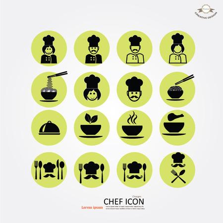chef: cocinero del icono icon.Chef con kitchenware.Chef ilustración symbol.vector.