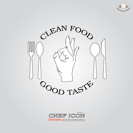 alright: Chef icon.chef icon with hand okay.Chef symbol.vector illustration.