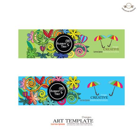 矢量横幅模板与涂鸦夏季主题。涂鸦template.doodle.vector插图
