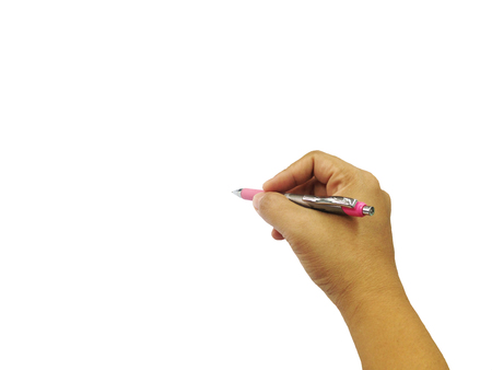 lady hand: women arm writing with a pen. hand Isolated on white background.