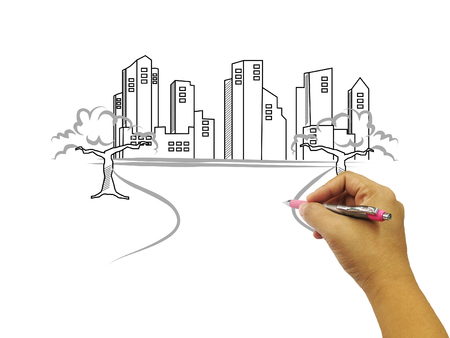 building sketch: Hand drawing buildings isolated on white background.hand sketch building.