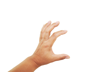 keep in touch: female hand reaching for something isolated on a white background.woman hand.