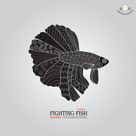 fighting fish: betta fish doodle. Betta Fish. Dragon Fish.fighting fish doodle  Fighting fish.vector illustration
