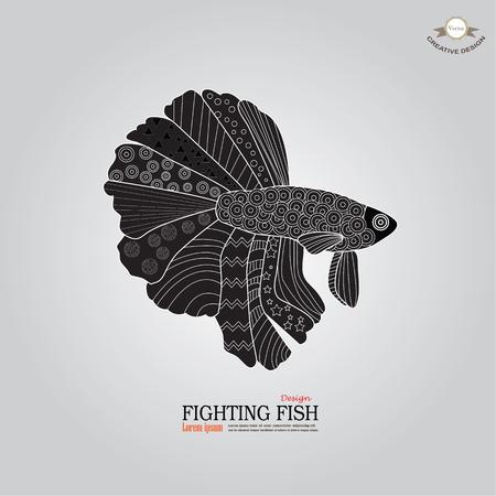 betta: betta fish doodle. Betta Fish. Dragon Fish.fighting fish doodle  Fighting fish.vector illustration
