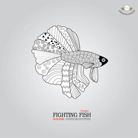 betta fish doodle. Betta Fish. Dragon Fish.fighting fish doodle  Fighting fish.vector illustration