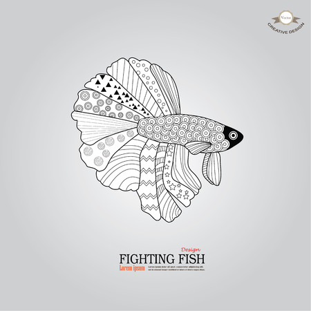 pet breeding: betta fish doodle. Betta Fish. Dragon Fish.fighting fish doodle  Fighting fish.vector illustration