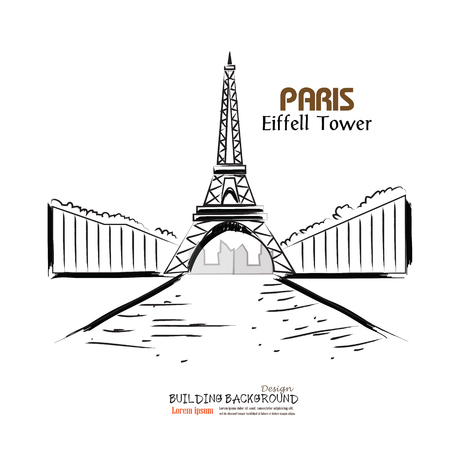 design drawing: Paris.cityscape with Eiffel Tower. eiffel tower sketch. vector illustration. Illustration