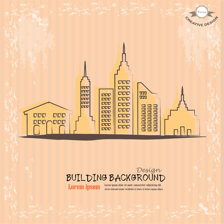 construction firm: city graphic.building in town.sketch building.vector illustration.