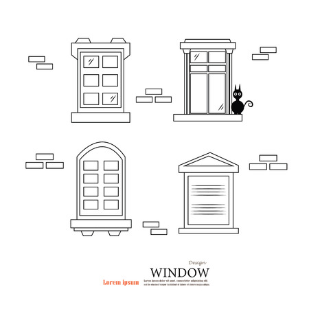 the passage: window design  with brick wall background.