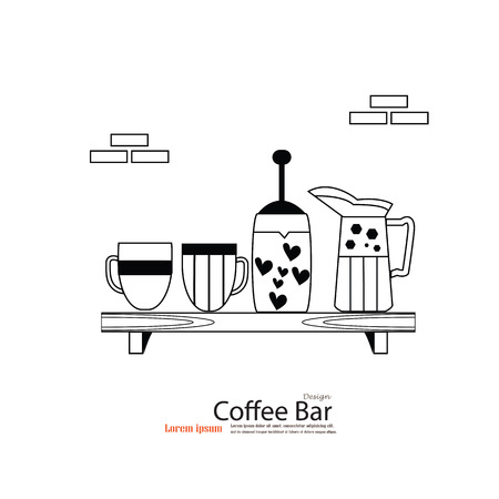strainer: coffee cup with jug on shelves.Coffee drinks.coffee makers icons. Illustration