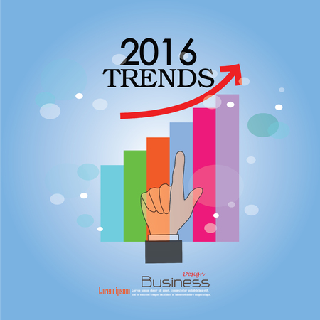 trends: 2016 trends.Hand point  2016 trends word.Vector illustration.