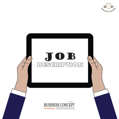 job descriptions: tablet screen with hands. Business man hold tablet with job description word.Vector illustration. Stock Photo