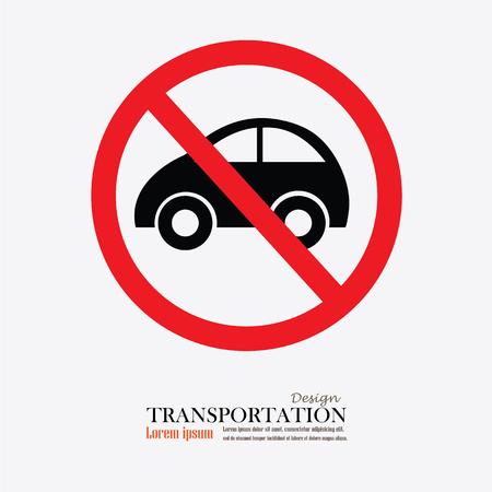 obedecer: Ning�n coche o ninguna se�al de tr�fico de estacionamiento, proh�ben ilustraci�n sign.vector Vectores
