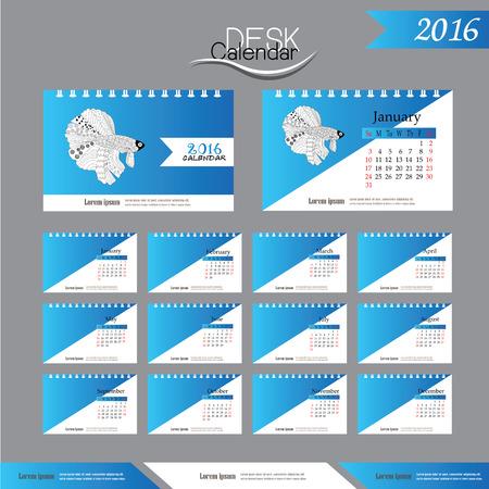 betta: 2016 calendar.Desk Calendar 2016. Vector Design Template with betta fish. vector illustration