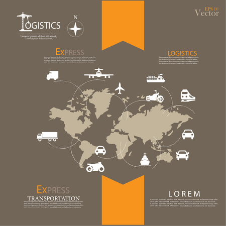 global logistics: Logistics technology concept.logistics connection on world map. Vector illustration.
