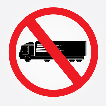 No: No truck or no parking sign. Illustration