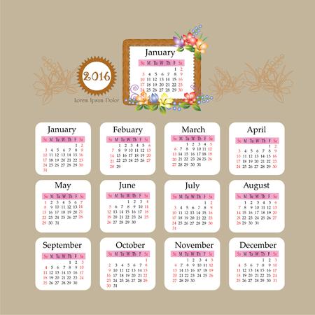 wood frame: Calendar 2016.template business calendar 2016 with flower and wood frame  design.vector illustration. Stock Photo