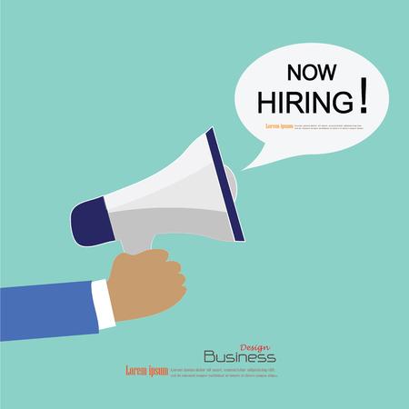 우리는 확성기 .recruitment 개념입니다 일러스트와 함께 Hiring.hand된다. 스톡 콘텐츠 - 48276110