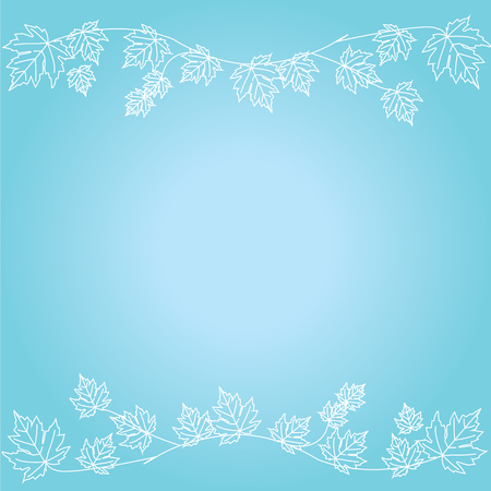 blue gradient: blue gradient background with maple leaves.vector illustration. Illustration