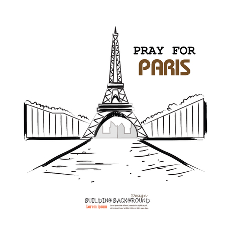 tribute: Pray for Paris with Eiffel tower . Tribute to victims of terrorism attack in center of Paris, November 13, 2015. Vector illustration isolated on white. Illustration