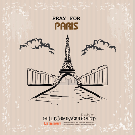 13: Pray for Paris with Eiffel tower . Tribute to victims of terrorism attack in center of Paris, November 13, 2015. Illustration