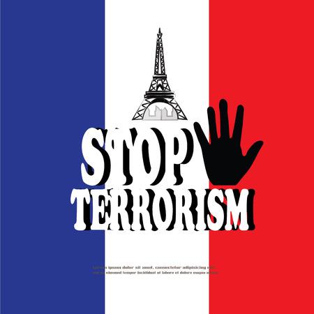 pray for: Stop terrorism. Pray for Paris, 13 November 2015. Vector Illustration Illustration