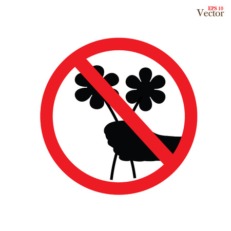Don't Pick the Flower Sign vector. A red sign that tell you not to pick the flower in this area.prohibit sign.vector illustration Ilustração