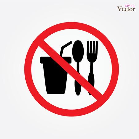 Geen eten vector teken, geen eten of drinken toegestaan ??vector Stockfoto - 48299674