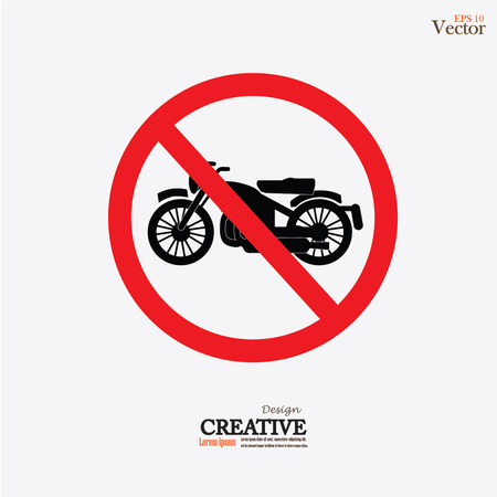 illegal zone: No motorcycle or no parking sign,prohibit sign vector