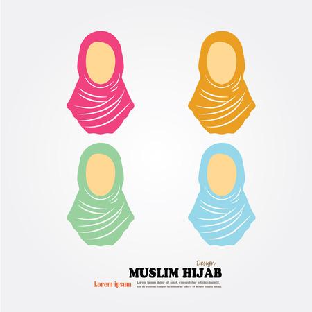 hijab: Muslim woman  icon with hijab. Asian muslim traditional  hijab.islam woman sign.vector illustration.