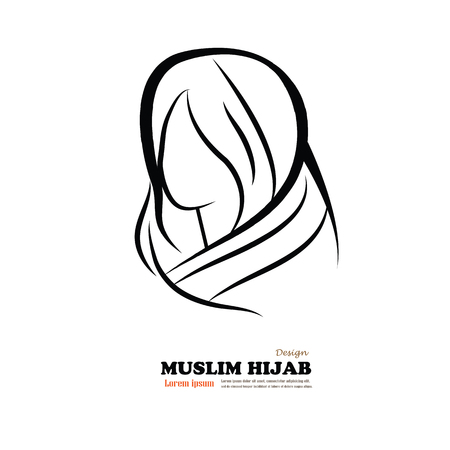 openly: arab muslim woman. Islamic and nationality tradition, hijab.muslim woman outline style. Vector illustration Illustration