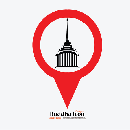 holy place: Map Pointer Icon With temple sign.church sign Temple.vector illustration. Illustration