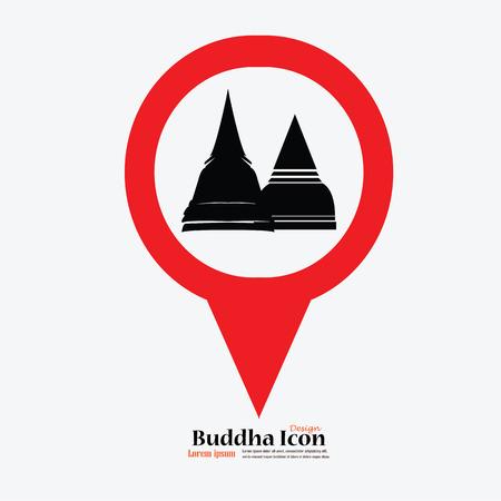 タイの仏塔。仏。マップ ポインターと教会の記号。タイの Temple.vector の図。